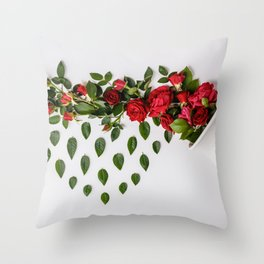 Reative image of white cup with red roses Throw Pillow