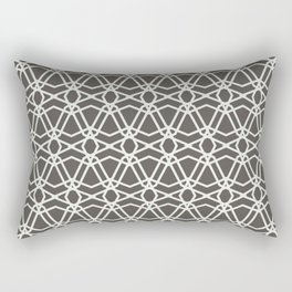 Brown and White Line Geometric Pattern Chains 2021 Color of the Year Urbane Bronze Extra White Rectangular Pillow