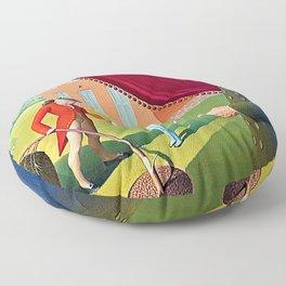 12,000pixel-500dpi - Grant DeVolson Wood - Parson Weems Fable - Digital Remastered Edition Floor Pillow