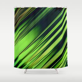Diagonal Stripes of Green and Black Shower Curtain