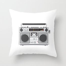 Vintage Portable Radio Cassette Player Retro Throw Pillow