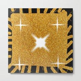 Fun Gold Glitter Square Easy Drawing Metal Print