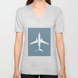 737 Passenger Jet Airliner Aircraft - Slate Unisex V-Neck