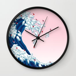 Christmas Llama Great Wave in Pink Wall Clock