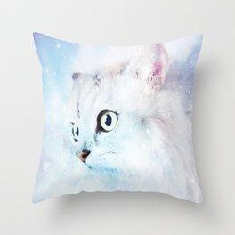 Fluffy starry cat Throw Pillow