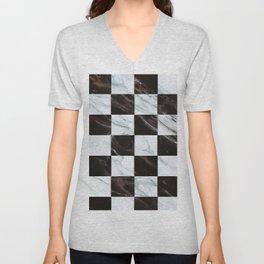 Zig zag checkered pattern with marbling Unisex V-Neck
