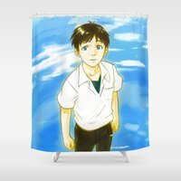 evangelion Shower Curtains featuring Lonely Freedom by Rainy Studios