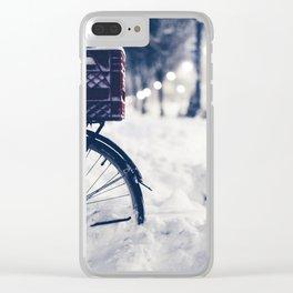 Milk Crate on Bike in Snow Clear iPhone Case