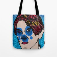 david bowie Tote Bags featuring David Bowie by Arnaud Pagès