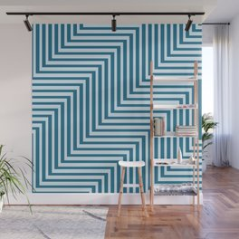 Bold Blue on Blue Zig Zag Wall Mural