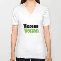 vegan V-neck T-shirts featuring Team Vegan  by Michael P. Moriarty