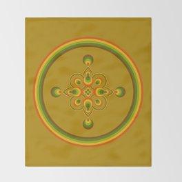 70s Circle Designs - Orange, Brown, Green Throw Blanket
