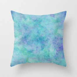 Teal and Blue Tropical Marble Watercolor Texture Throw Pillow