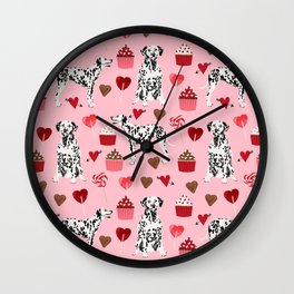 Dalmatian valentines day cupcakes and hearts love dog breeds dog lovers valentine Wall Clock