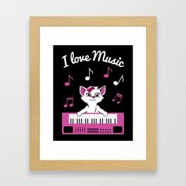 Keyboard Cat I Love Music Piano Instrument Player Gift Framed Art Print
