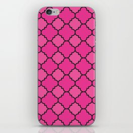 Quatrefoil - Pink & Black iPhone Skin