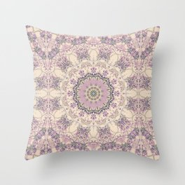 47 Wisteria Circle - Vintage Cream and Lavender Purple Mandala Throw Pillow