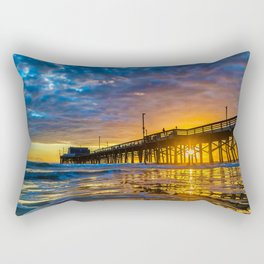 Low Angle Sunset at Newport Pier Rectangular Pillow