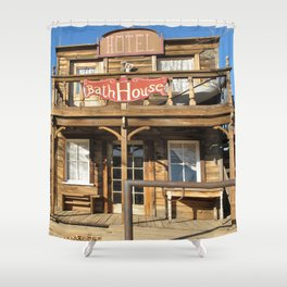 Vintage Western Wild West Hotel Bath House Shower Curtain