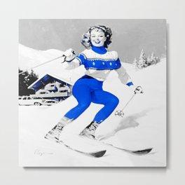 Snow Bunny Pin Up Girl Blue Metal Print