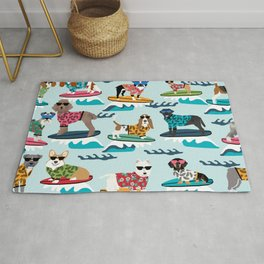 Surfing Dogs - cute summer tropical dogs surfing Rug