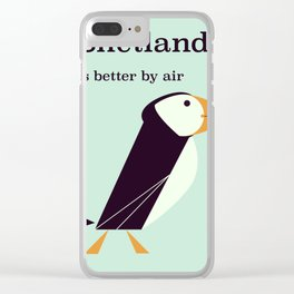 Shetland Puffin Vintage travel poster Clear iPhone Case