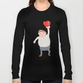 fat boy holding a heart. Long Sleeve T-shirt