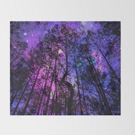 Black Trees Purple Fuchsia Blue space Throw Blanket