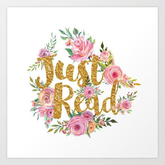 Just Read - Gold Foil v2 Art Print