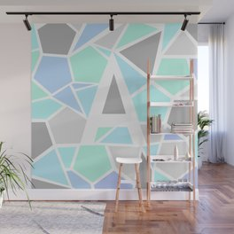 Letter A Geometric Shapes in Cool Colors Wall Mural