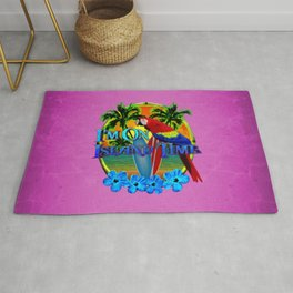 Pink Island Time Sunset Rug