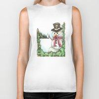 snowman Biker Tanks featuring Snowman... by Saltz