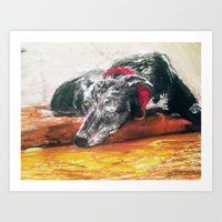 greyhound Art Prints featuring Greyhound  by MaryBoots Newman