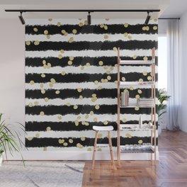 Modern black watercolor stripes chic gold confetti Wall Mural