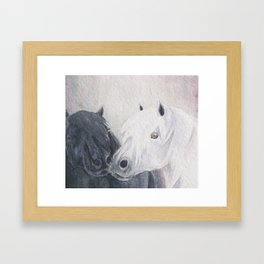 Pony Kiss Black and White Shetland Ponies Framed Art Print