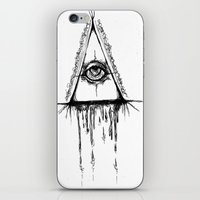 all seeing eye iPhone & iPod Skins featuring All Seeing Eye  by Emalee Røse