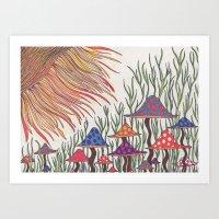 Sunshrooms  Art Print