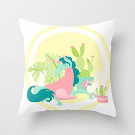 Purr-ickles - Pink & Teal - v1 Throw Pillow