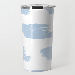 Light Blue & White Big Watercolor Stripes Travel Mug