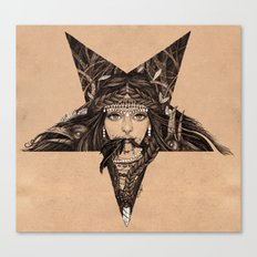 Lady of the Dark Star (coffee) Canvas Print