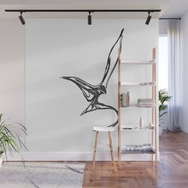 Swallow 1.Black on white background. (ZOOM) Wall Mural