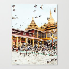 Pigeons descend on Buddhist Temple in Burma Fine Art Print Canvas Print