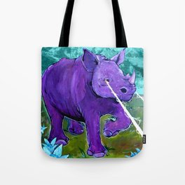 The Hills Are Alive with Laser Rhino - Mountain Rhinoceros and Edelweiss original art Tote Bag