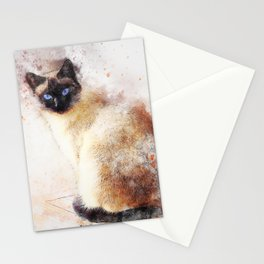 Siamese Cat (Abstract) Stationery Cards