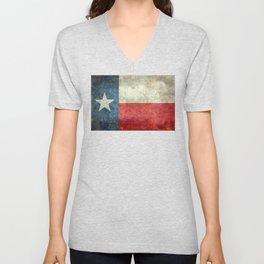Texas flag, Retro distressed texture Unisex V-Neck