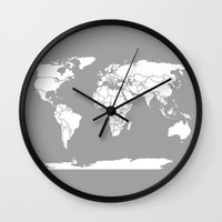 political Wall Clocks featuring A Political Map of the World by Catherine Holcombe