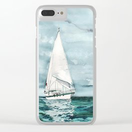 Sailboat painting on turquoise waters stormy skies Clear iPhone Case