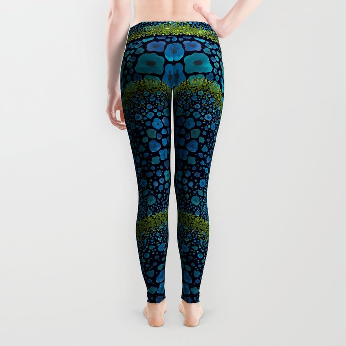 Paths of Color [Turquoise, Blue and Green] Leggings