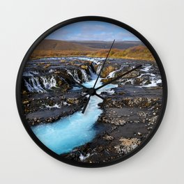 ICELAND TRAVEL: Blue Waterfall Wall Clock