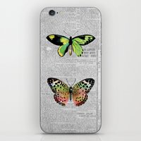 newspaper iPhone & iPod Skins featuring Newspaper and Butterflies by Juliana Zimmermann